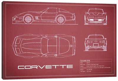Chevrolet Corvette C3 Body Type (Maroon) Canvas Art Print
