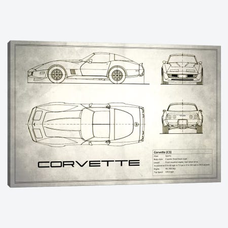 Chevrolet Corvette C3 Body Type (Vintage Silver) Canvas Print #RGN119} by Mark Rogan Canvas Artwork