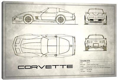 Chevrolet Corvette C3 Body Type (Vintage Silver) Canvas Art Print