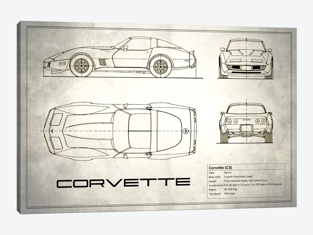 Chevrolet Corvette C3 Body Type (Vintage Silver) by Mark Rogan 1-piece Canvas Art