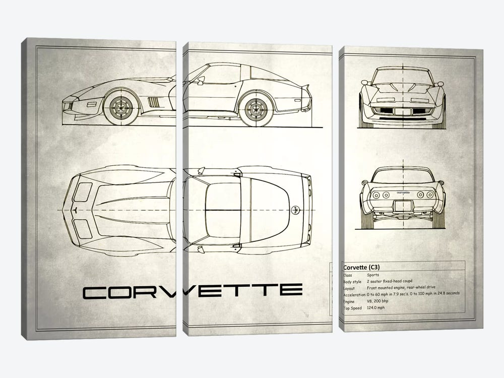 Chevrolet Corvette C3 Body Type (Vintage Silver) by Mark Rogan 3-piece Canvas Art