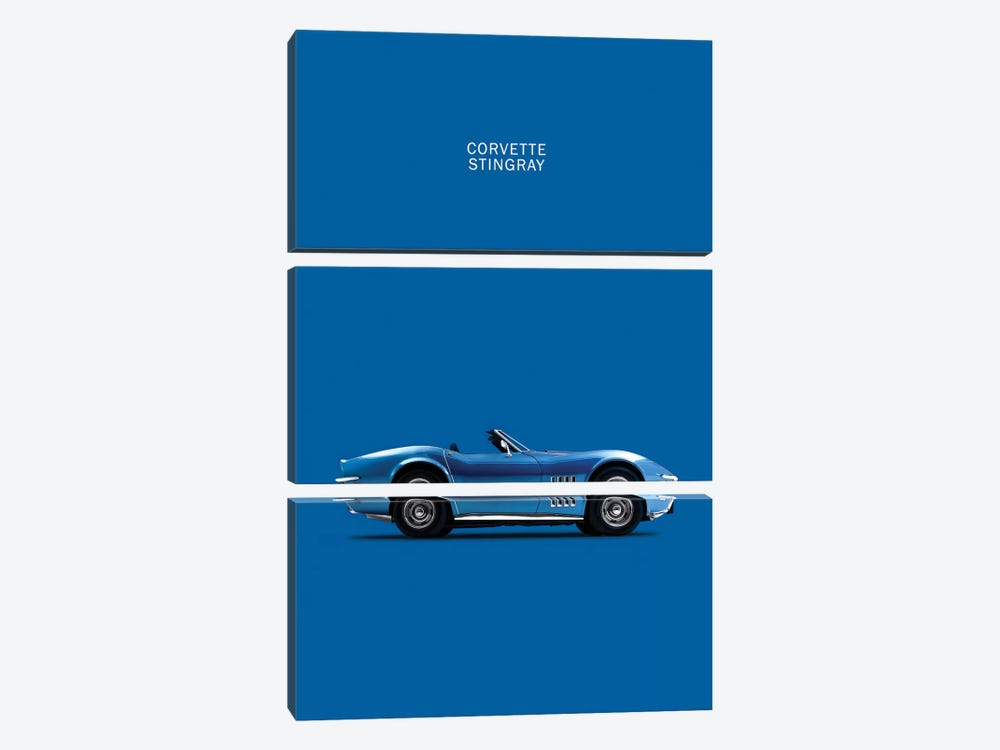 Chevrolet Corvette Stingray (Blue) by Mark Rogan 3-piece Canvas Art