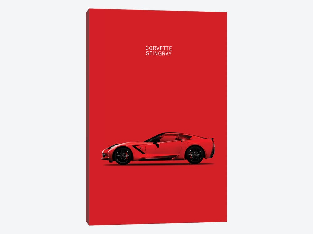 Chevrolet Corvette Stingray (Red) by Mark Rogan 1-piece Canvas Art Print