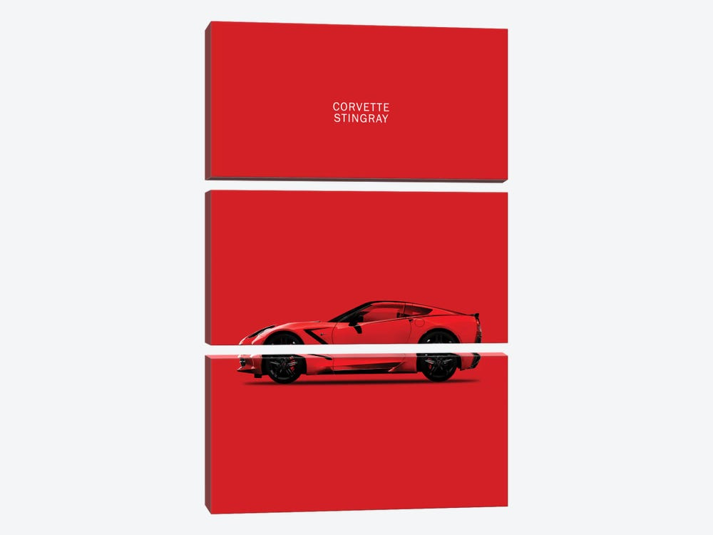 Chevrolet Corvette Stingray (Red) by Mark Rogan 3-piece Art Print