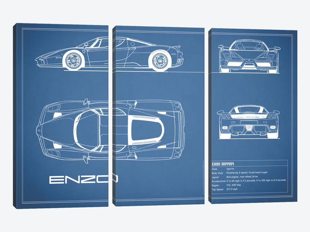 Enzo Ferrari (Blue) by Mark Rogan 3-piece Canvas Art Print