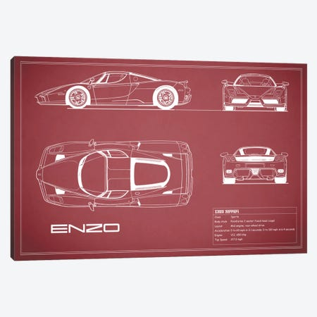 Enzo Ferrari (Maroon) Canvas Print #RGN125} by Mark Rogan Canvas Wall Art
