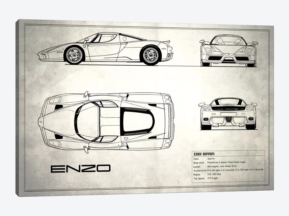 Enzo Ferrari (Vintage Silver) by Mark Rogan 1-piece Canvas Art
