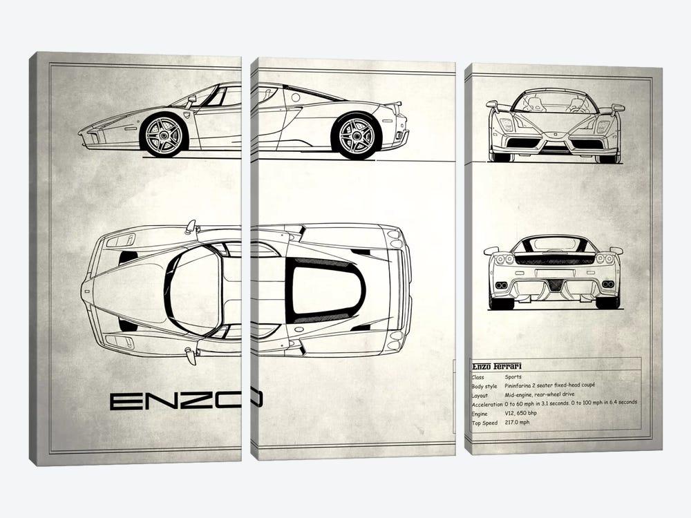 Enzo Ferrari (Vintage Silver) by Mark Rogan 3-piece Canvas Artwork