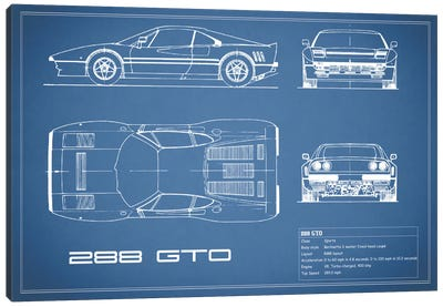 Ferrari 288 GTO (Blue) Canvas Art Print