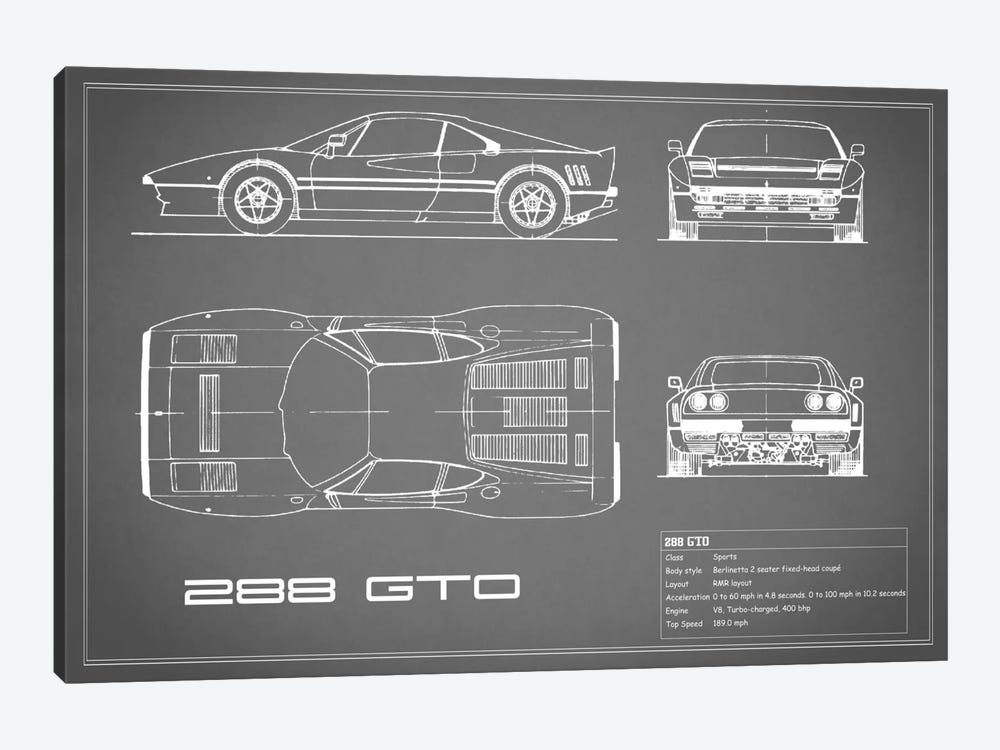 Ferrari 288 GTO (Grey) by Mark Rogan 1-piece Art Print