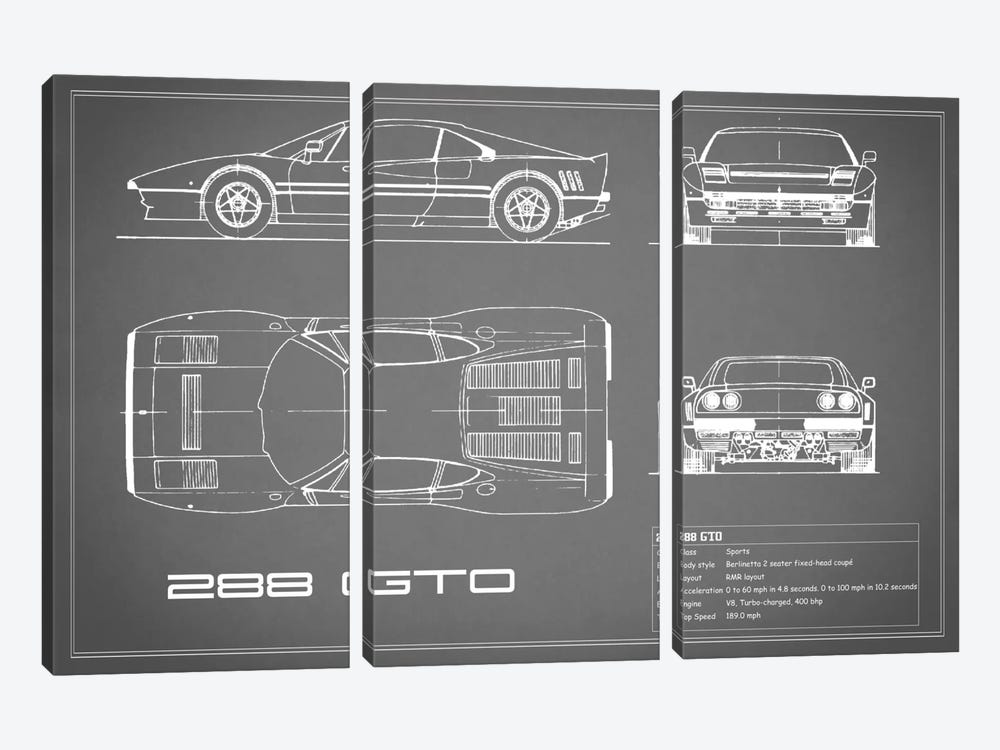 Ferrari 288 GTO (Grey) by Mark Rogan 3-piece Canvas Art Print