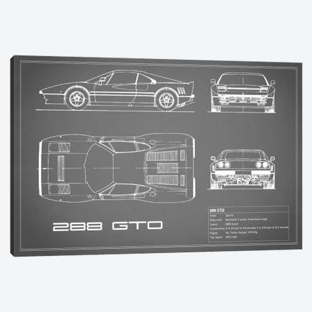 Ferrari 288 GTO (Grey) Canvas Print #RGN129} by Mark Rogan Canvas Art Print