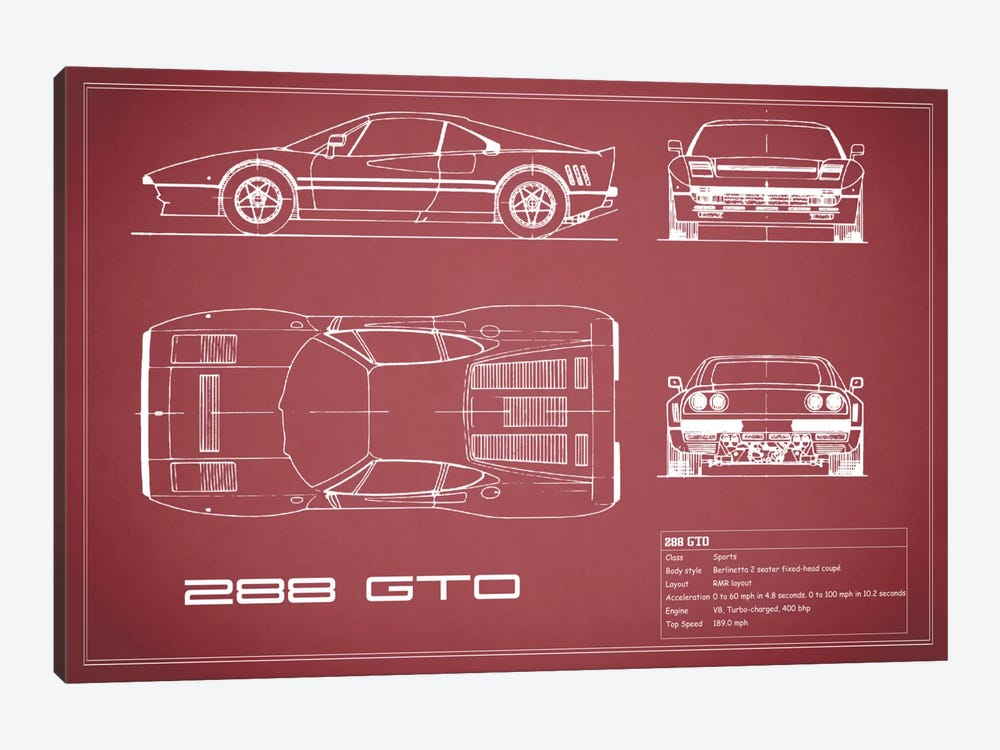 Ferrari 288 GTO (Maroon) by Mark Rogan 1-piece Art Print