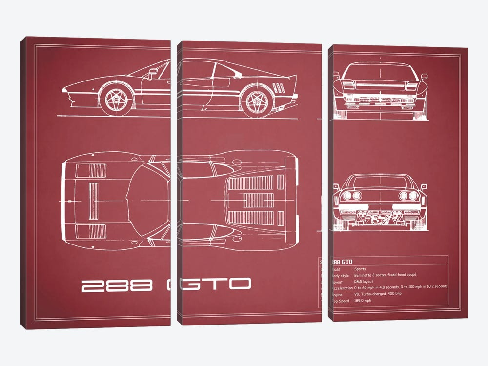Ferrari 288 GTO (Maroon) by Mark Rogan 3-piece Art Print