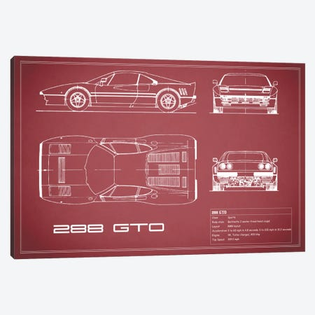 Ferrari 288 GTO (Maroon) Canvas Print #RGN130} by Mark Rogan Canvas Artwork