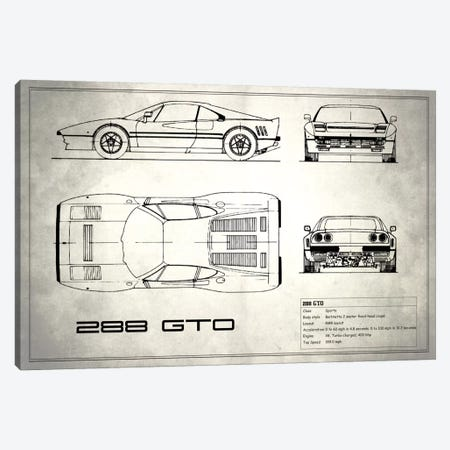 Ferrari 288 GTO (Vintage Silver) Canvas Print #RGN131} by Mark Rogan Canvas Wall Art