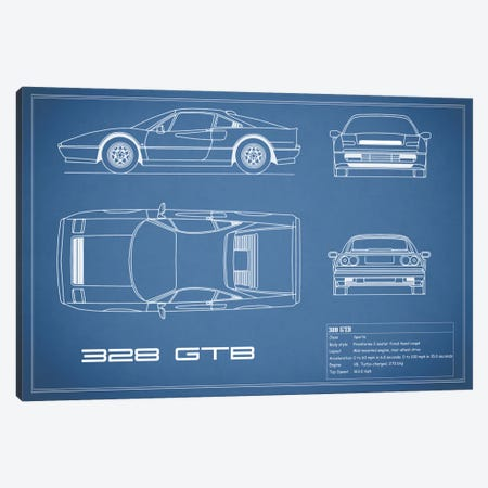 Ferrari 328 GTB (Blue) Canvas Print #RGN132} by Mark Rogan Canvas Wall Art