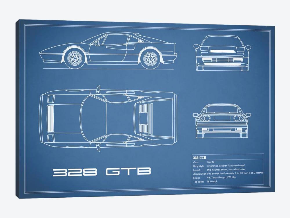 Ferrari 328 GTB (Blue) by Mark Rogan 1-piece Canvas Art Print
