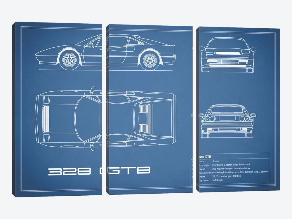 Ferrari 328 GTB (Blue) by Mark Rogan 3-piece Art Print