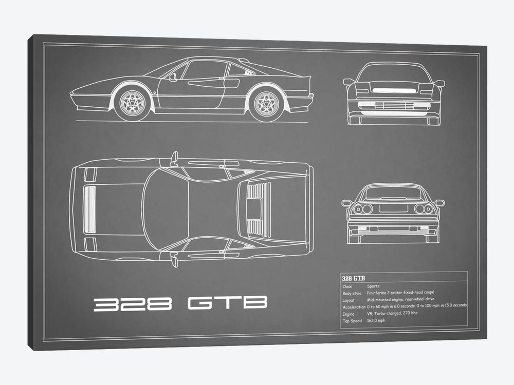 Ferrari 328 GTB (Grey) by Mark Rogan 1-piece Canvas Art