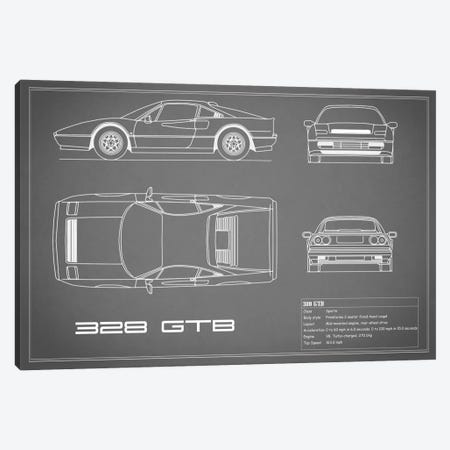 Ferrari 328 GTB (Grey) Canvas Print #RGN133} by Mark Rogan Canvas Artwork