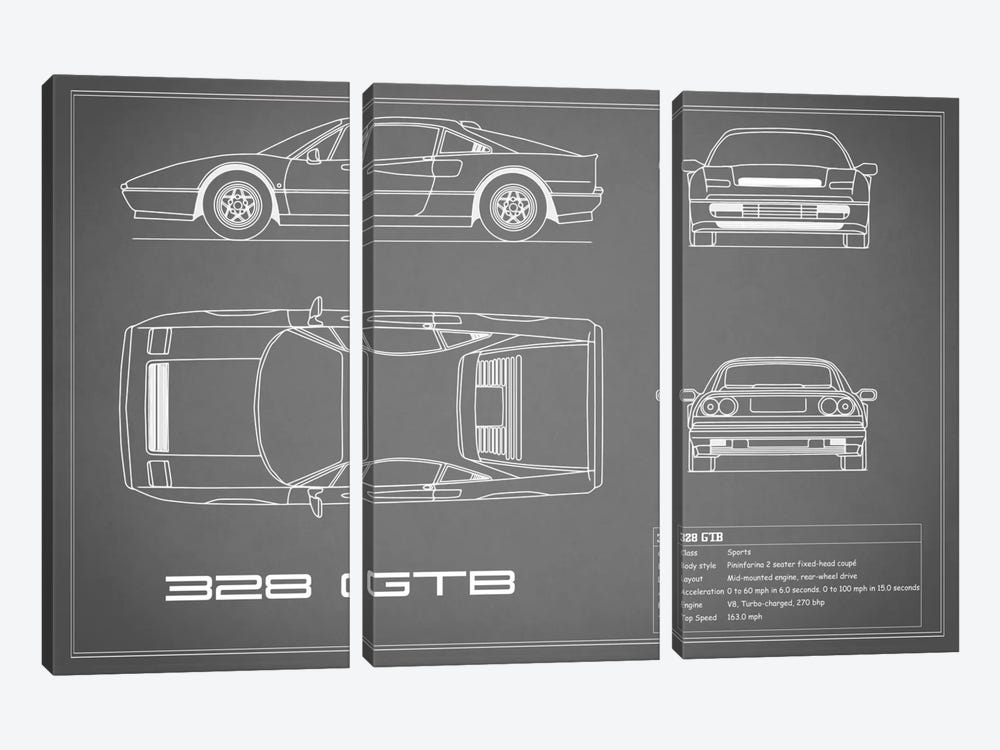 Ferrari 328 GTB (Grey) by Mark Rogan 3-piece Canvas Art