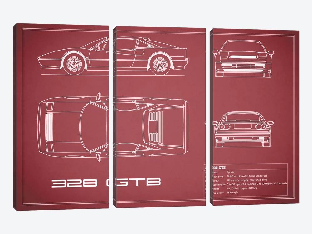 Ferrari 328 GTB (Maroon) by Mark Rogan 3-piece Canvas Print