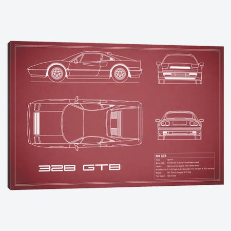 Ferrari 328 GTB (Maroon) Canvas Print #RGN134} by Mark Rogan Art Print