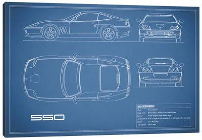 Ferrari 550 Maranello (Blue) Canvas Art Print