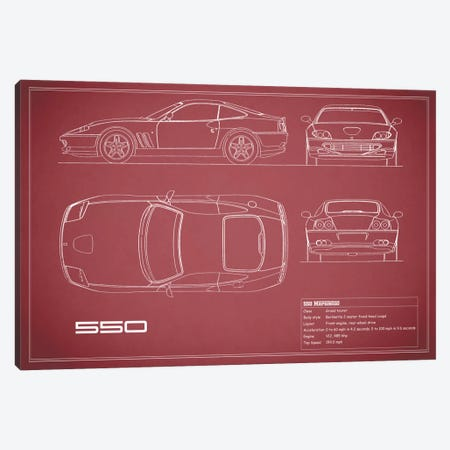 Ferrari 550 Maranello (Maroon) Canvas Print #RGN139} by Mark Rogan Canvas Art