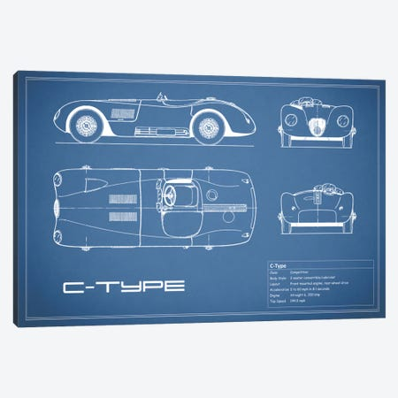 Jaguar C-Type (Blue) Canvas Print #RGN147} by Mark Rogan Canvas Artwork