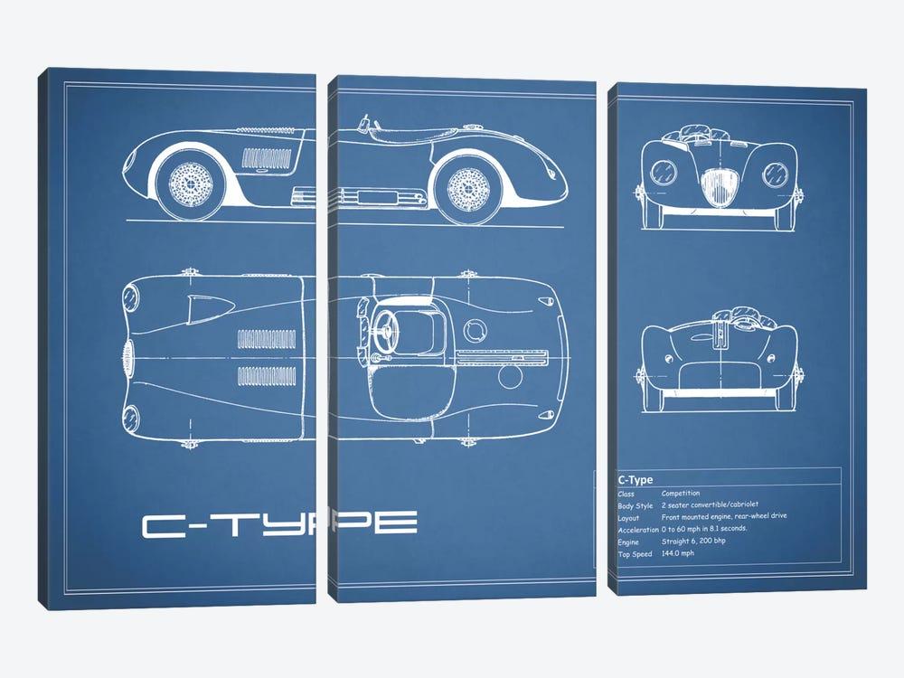 Jaguar C-Type (Blue) by Mark Rogan 3-piece Canvas Print