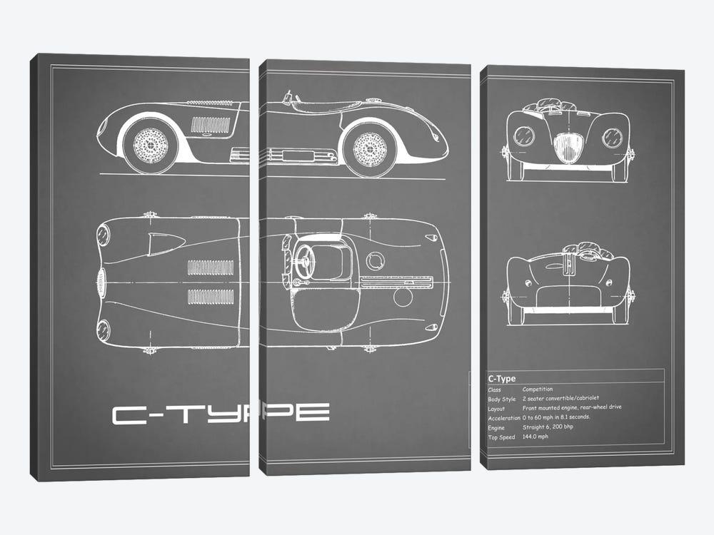 Jaguar C-Type (Grey) by Mark Rogan 3-piece Canvas Art