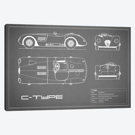 Jaguar C-Type (Grey) Canvas Print #RGN148} by Mark Rogan Canvas Art Print