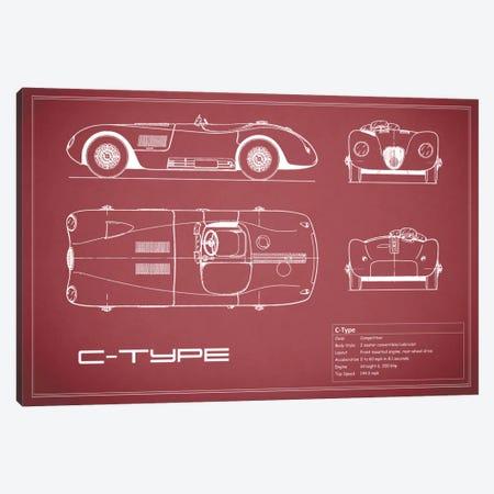 Jaguar C-Type (Maroon) Canvas Print #RGN149} by Mark Rogan Canvas Art Print
