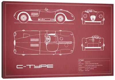 Jaguar C-Type (Maroon) Canvas Art Print