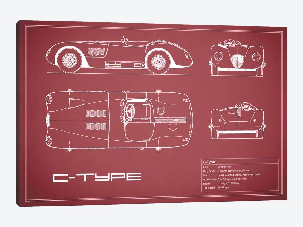 Jaguar C-Type (Maroon) by Mark Rogan 1-piece Art Print