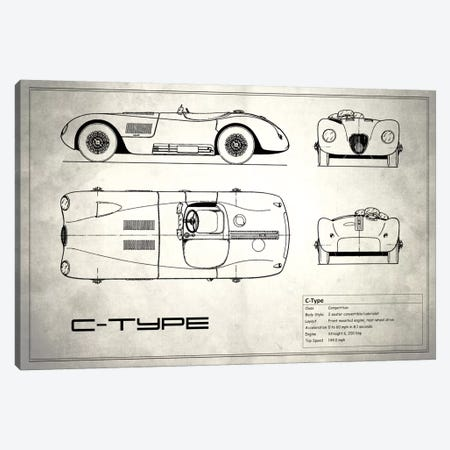 Jaguar C-Type (Vintage Silver) Canvas Print #RGN150} by Mark Rogan Canvas Wall Art
