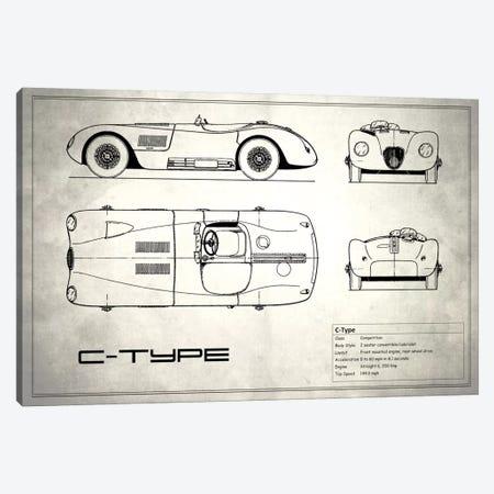 Jaguar C-Type (Vintage Silver) Canvas Print #RGN150} by Mark Rogan Canvas Wall Art