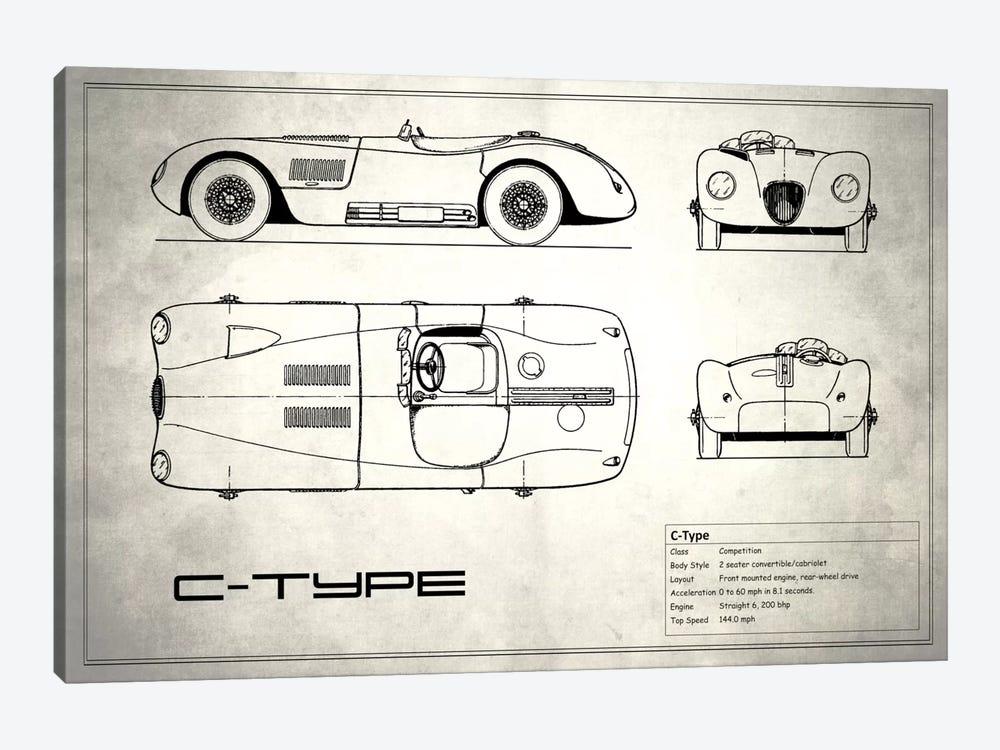 Jaguar C-Type (Vintage Silver) by Mark Rogan 1-piece Canvas Art Print
