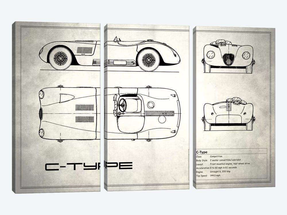 Jaguar C-Type (Vintage Silver) by Mark Rogan 3-piece Canvas Art Print