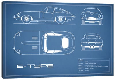 Jaguar E-Type Series 1 Coupe (Blue) Canvas Art Print