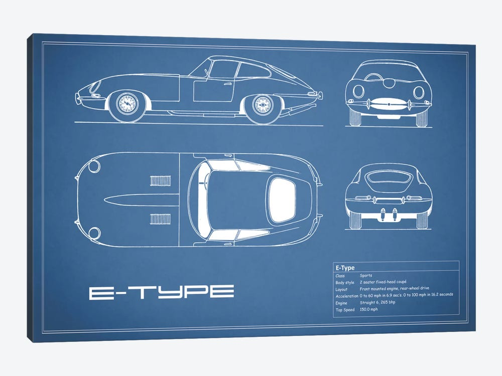 Jaguar E-Type Series 1 Coupe (Blue) by Mark Rogan 1-piece Art Print