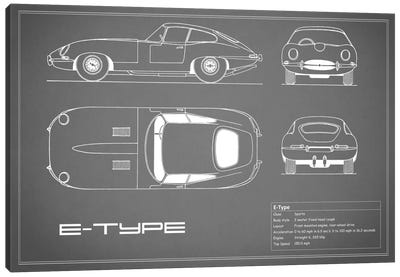 Jaguar E-Type Series 1 Coupe (Grey) Canvas Art Print