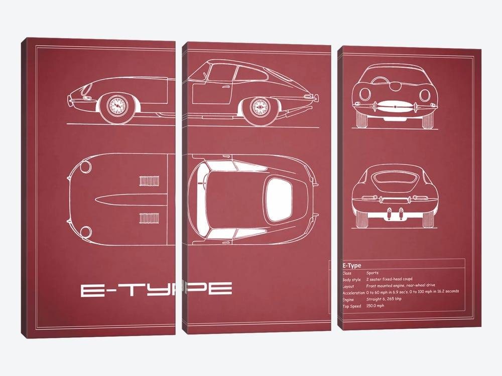Jaguar E-Type Series 1 Coupe (Maroon) by Mark Rogan 3-piece Canvas Print
