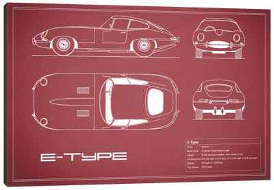 Jaguar E-Type Series 1 Coupe (Maroon) Canvas Art Print
