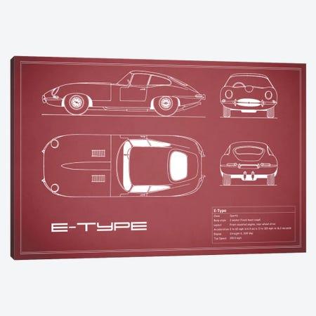 Jaguar E-Type Series 1 Coupe (Maroon) Canvas Print #RGN154} by Mark Rogan Canvas Print
