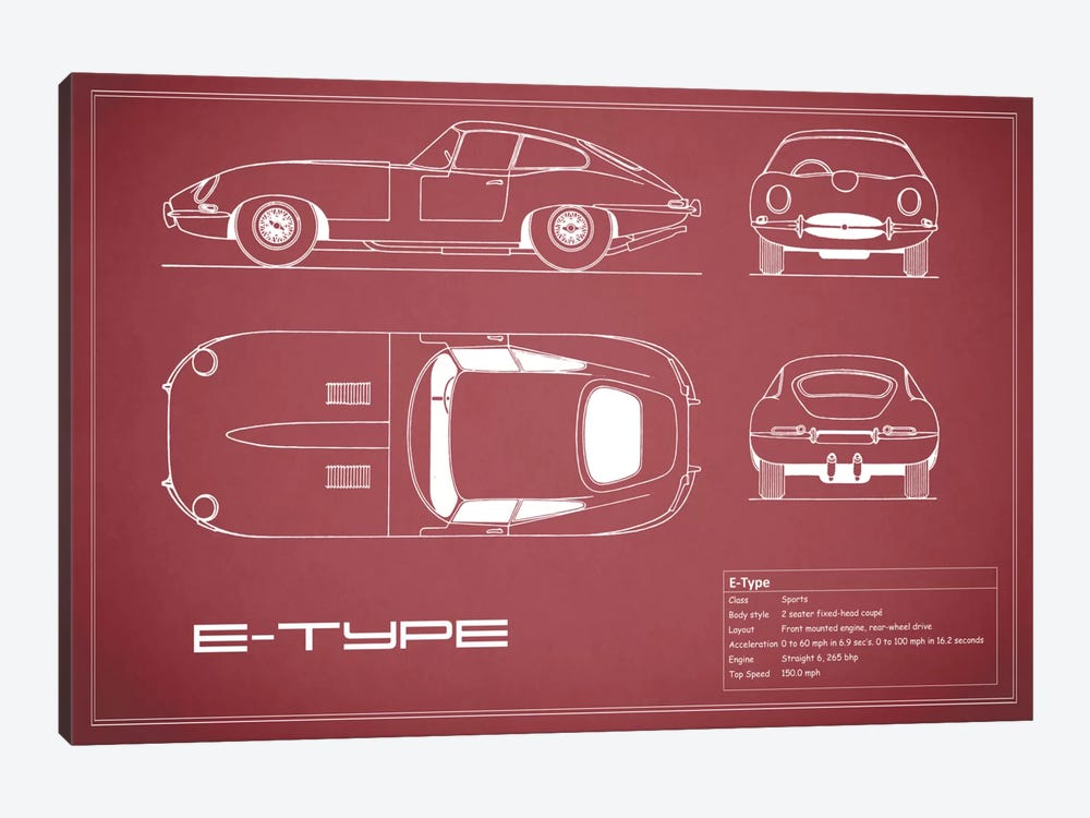 Jaguar E-Type Series 1 Coupe (Maroon) by Mark Rogan 1-piece Canvas Print