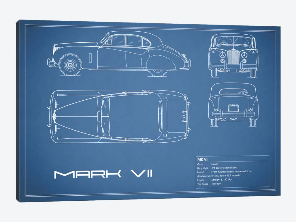 Jaguar Mark VII (Blue) by Mark Rogan 1-piece Canvas Print