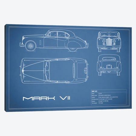 Jaguar Mark VII (Blue) Canvas Print #RGN156} by Mark Rogan Canvas Art Print